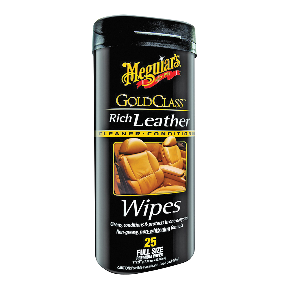 Picture of MEGUIAR'S G10900 Leather Wipes, Sweet Herbal, 25