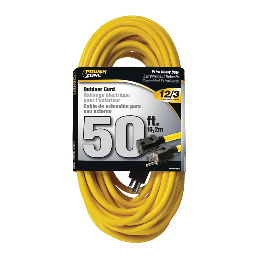 Picture of PowerZone OR500830 Extension Cord, 12 AWG Cable, 50 ft L, 15 A, 125 V, Yellow Jacket