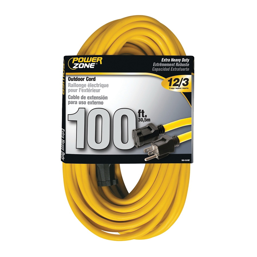 Picture of PowerZone OR500835 Extension Cord, 12 AWG Cable, 100 ft L, 13 A, 125 V, Yellow Jacket