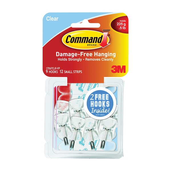 Picture of Command 17067CLR-VP Wire Hook, 0.5 lb, 9-Hook, Plastic, Clear, 21, Visual Pack