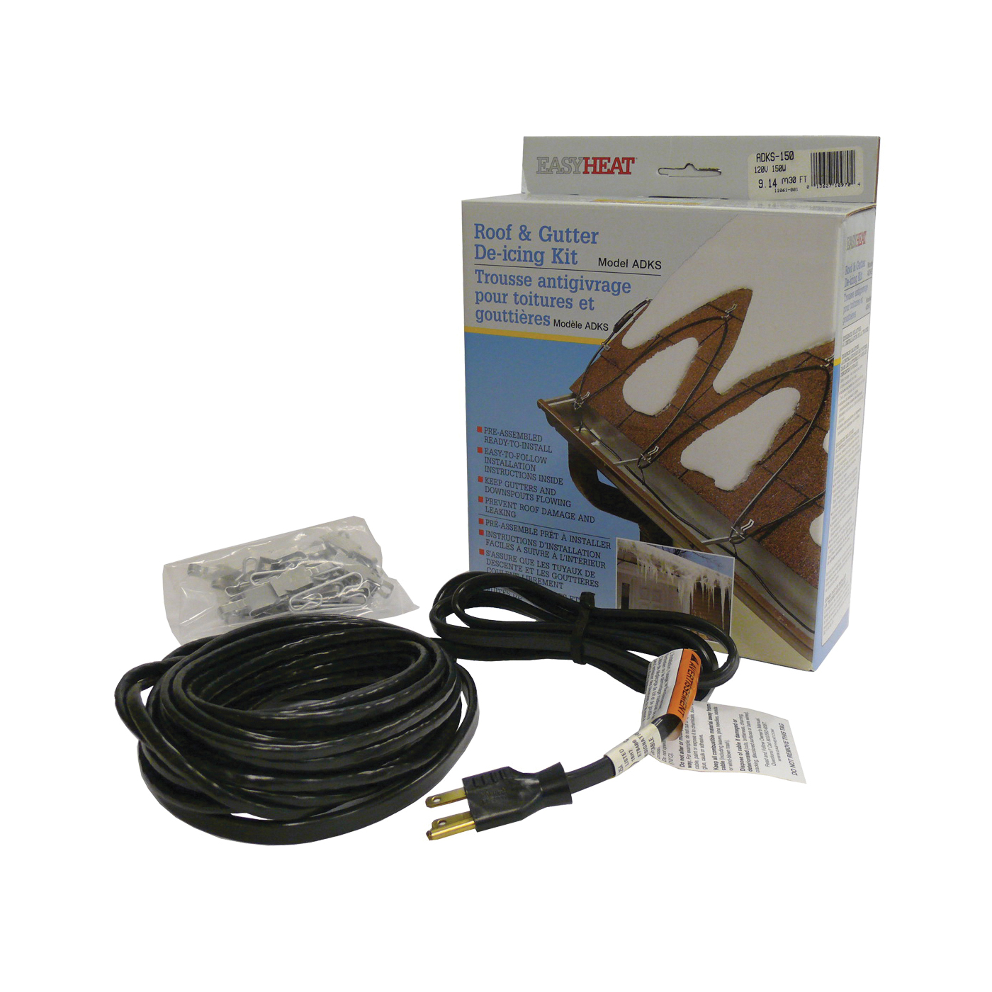 Picture of EasyHeat ADKS Series ADKS500 Roof and Gutter De-Icing Cable, 100 ft L, 120 V, 500 W