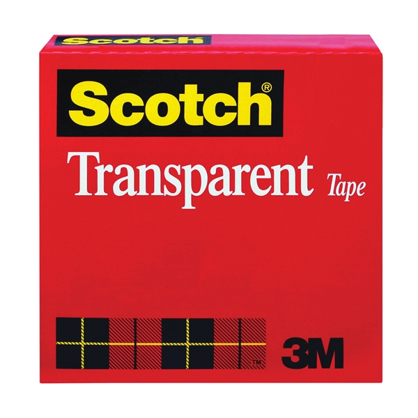 Picture of Scotch 600 Packaging Tape, 2592 in L, 1/2 in W, UPVC Backing, Clear