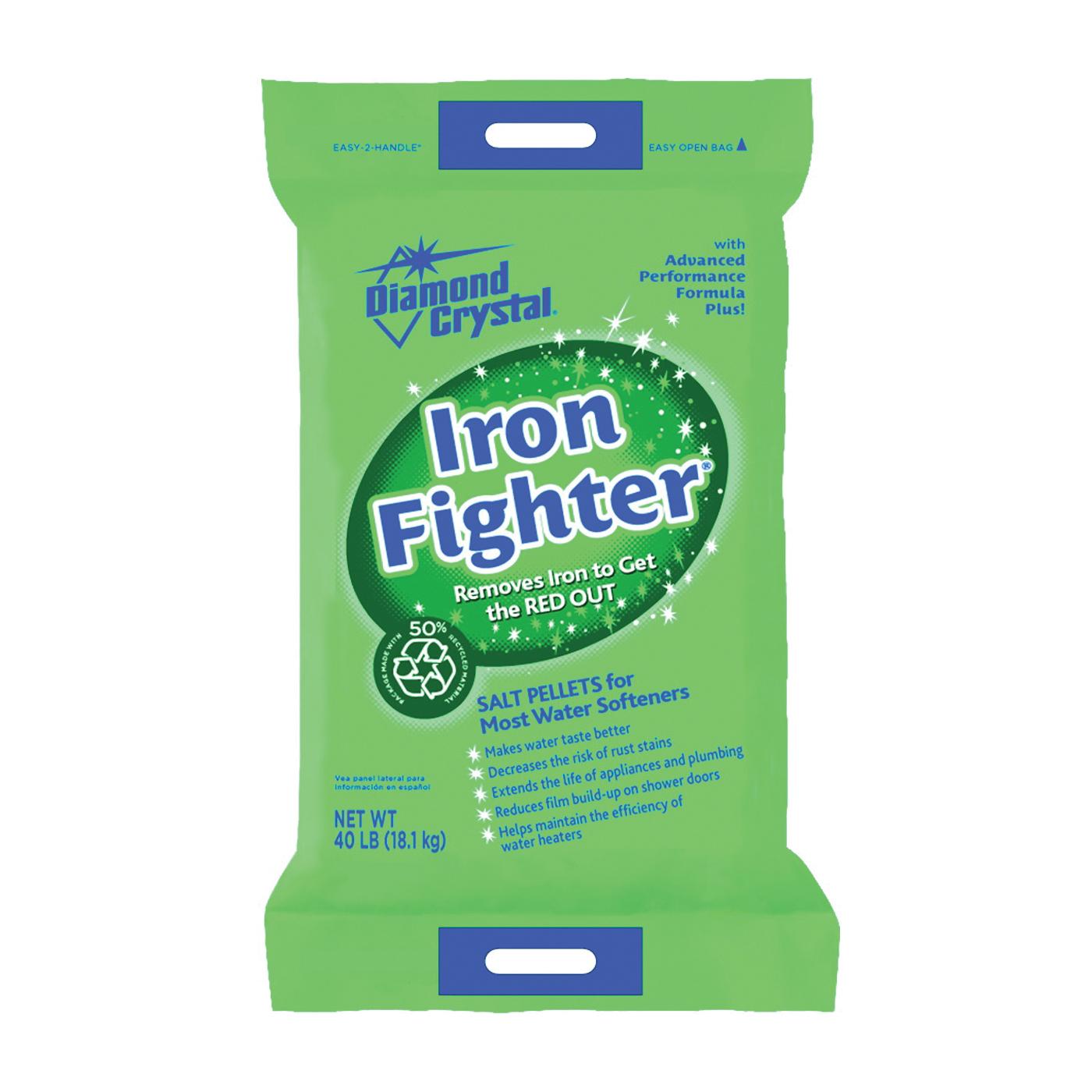 Picture of Cargill Diamond Crystal Iron Fighter 100012408 Salt Pellets, 40 lb Package, Bag, Crystalline Solid, Halogen