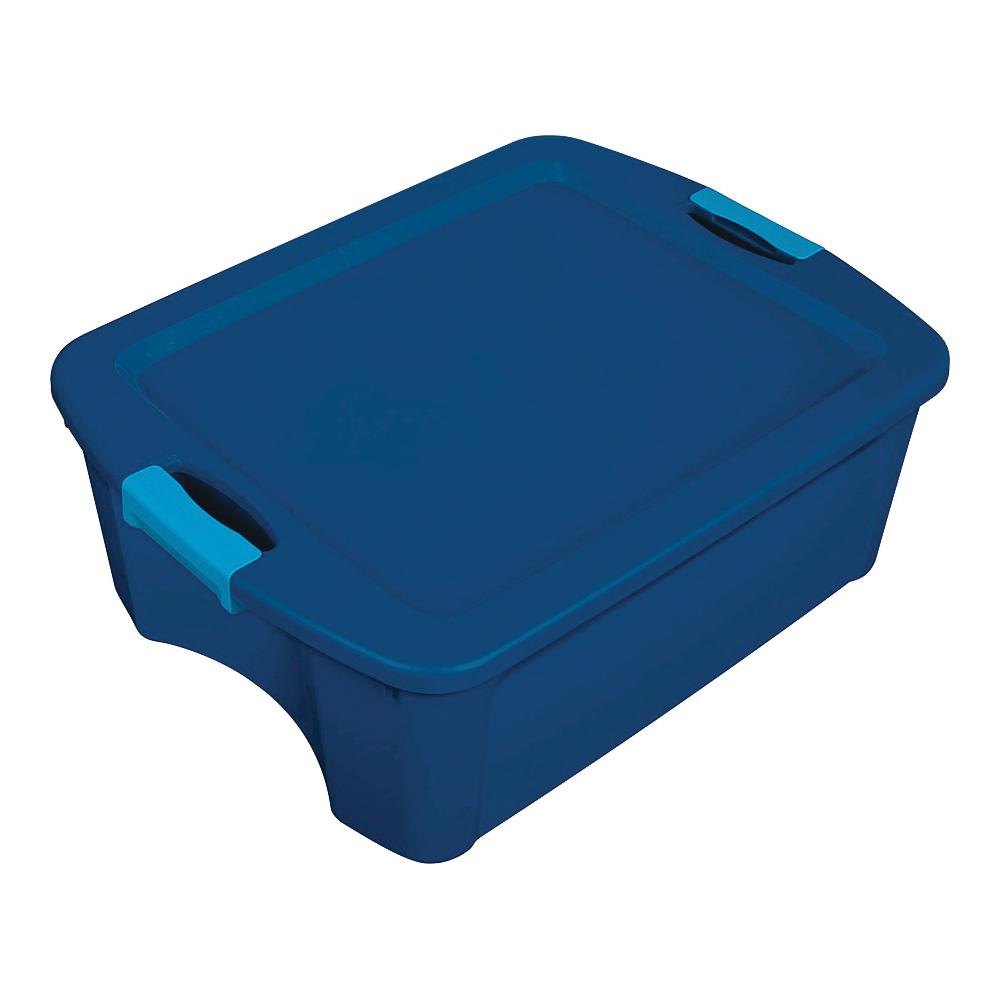 Picture of Sterilite 14447406 Carry Tote, Plastic, True Blue, 23-5/8 in L, 18-5/8 in W, 9-1/4 in H