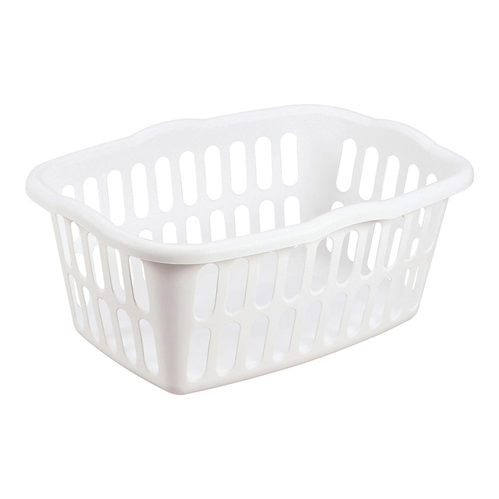 Picture of Sterilite 12458012 Laundry Basket, 1.5 bu Capacity, Plastic, White, 1-Compartment