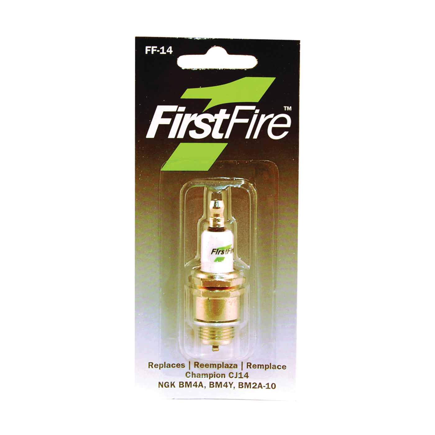 Picture of MTD FF-14 Spark Plug, 3/8 in Fill Gap, 0.551 in Thread, 13/16 in Hex
