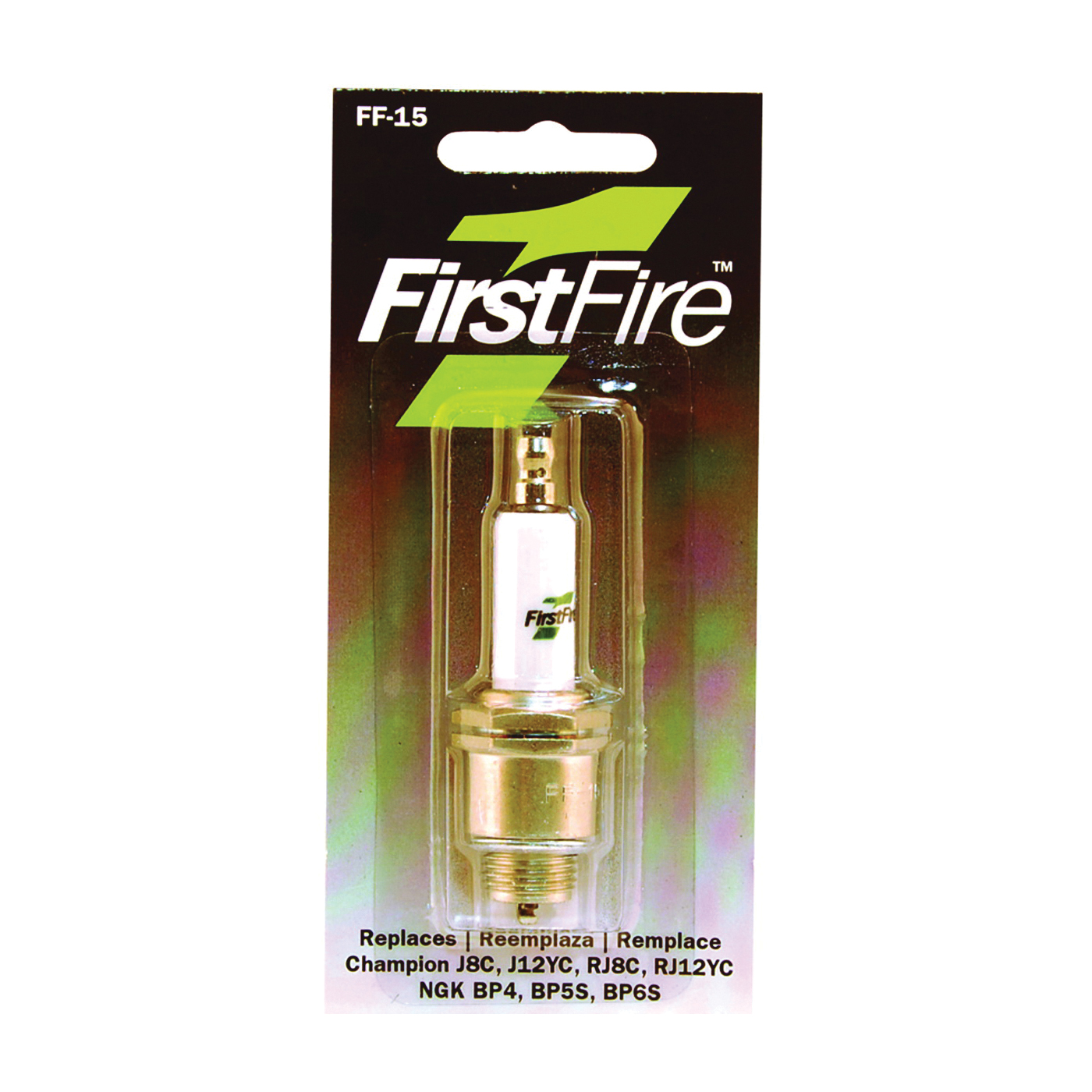 Picture of MTD FF-15 Spark Plug, 3/8 in Fill Gap, 0.551 in Thread, 13/16 in Hex