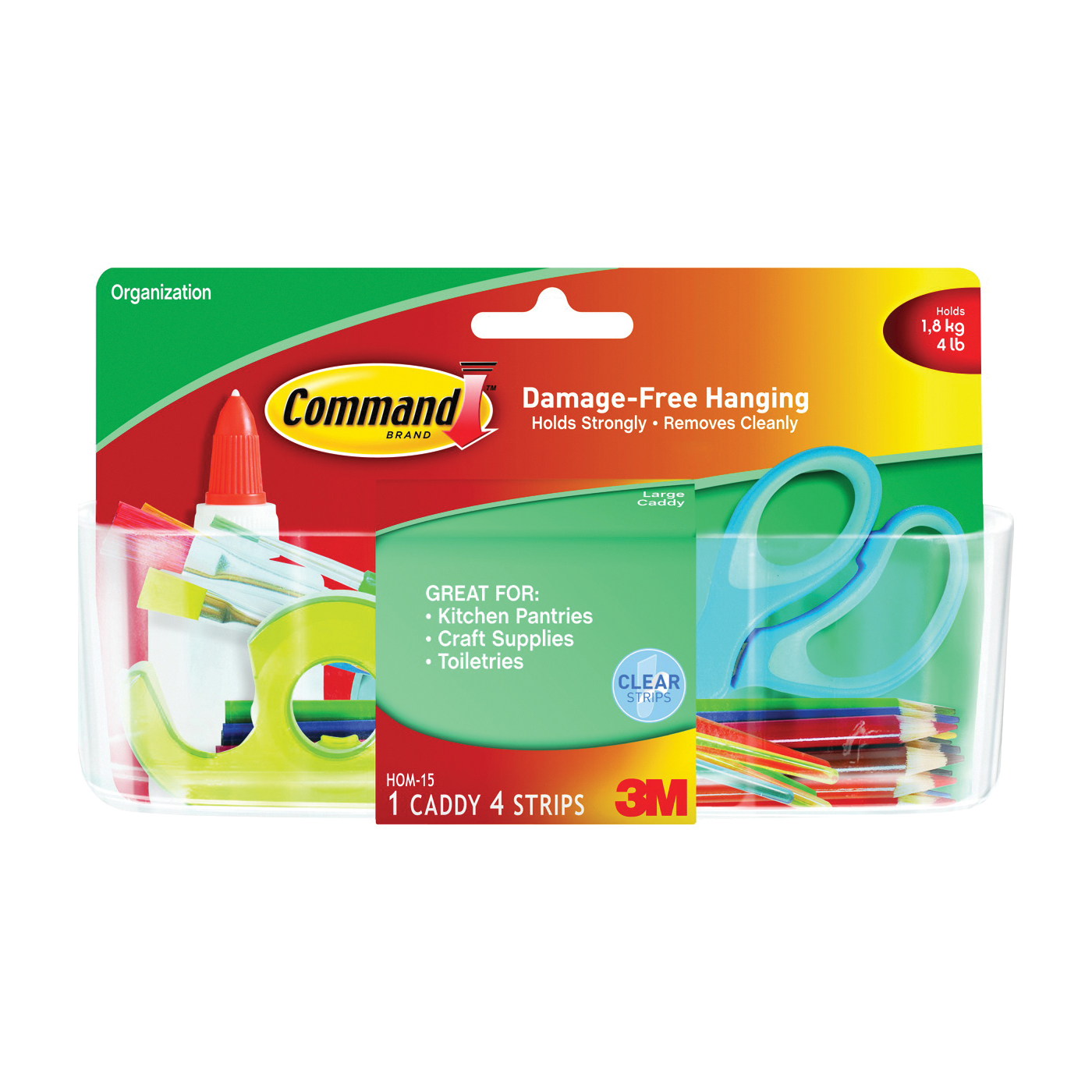 Picture of Command HOM-15 Large Caddy, 2 lb Capacity, Plastic, Clear