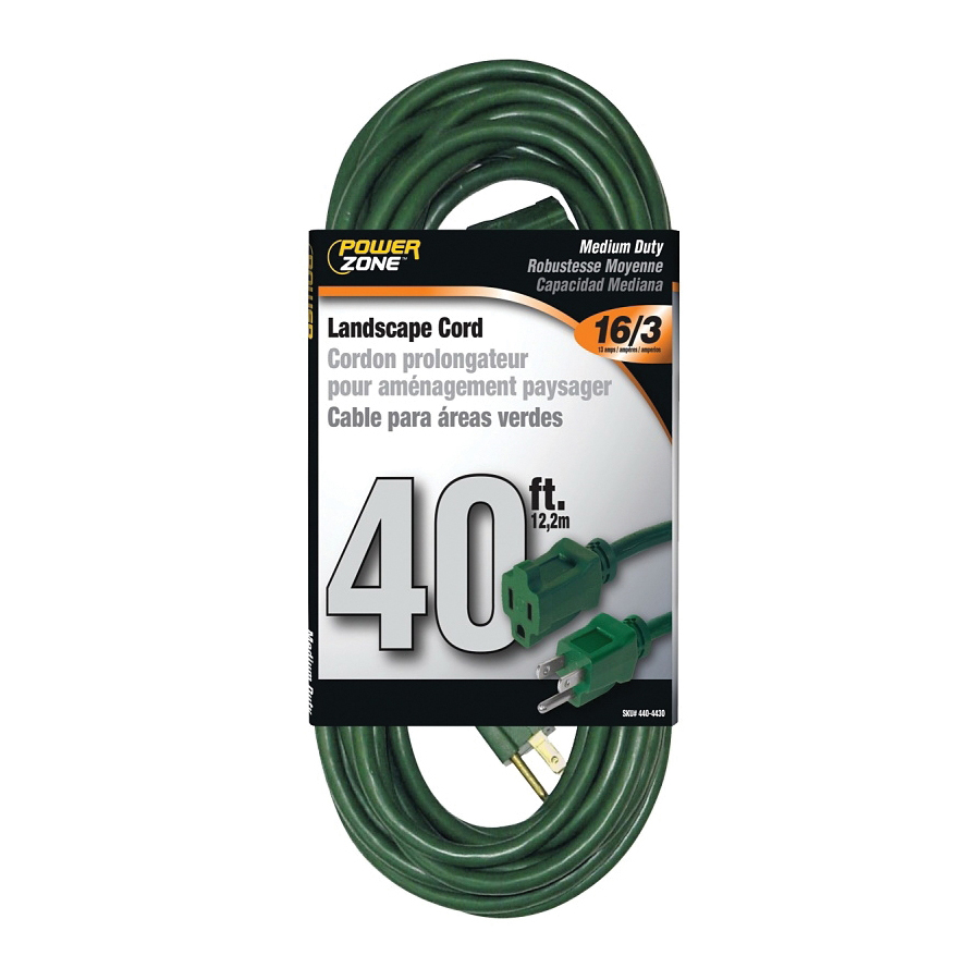 Picture of PowerZone OR880628 Extension Cord, 16 AWG Cable, 40 ft L, 13 A, 125 V, Green Jacket
