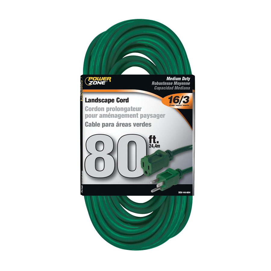 Picture of PowerZone OR880633 Extension Cord, 16 AWG Cable, 80 ft L, 10 A, 125 V, Green Jacket