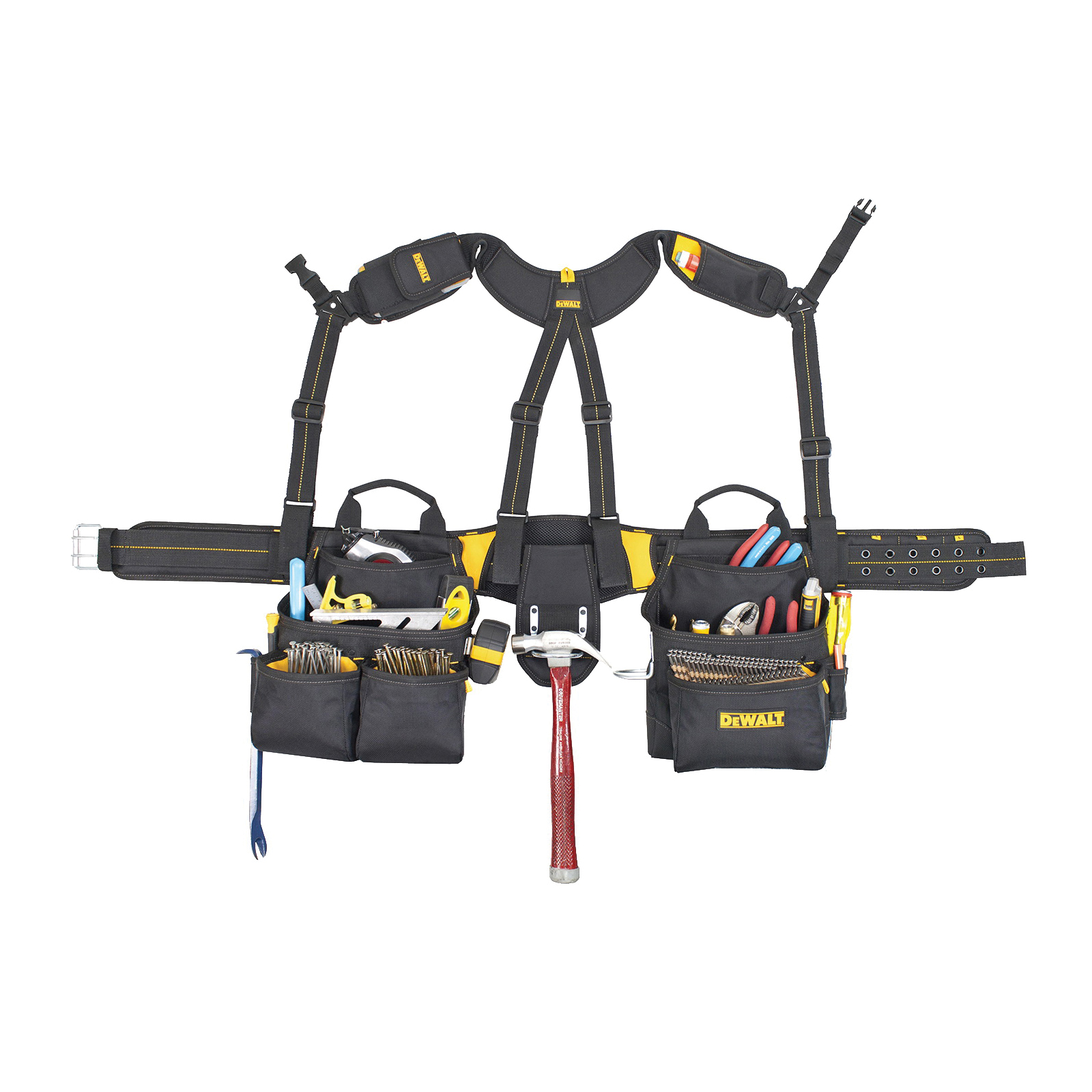 Picture of CLC DG5617 Tool Apron with Yoke Style Suspenders, 29 to 46 in Waist, Poly Fabric, Black, 20 -Pocket