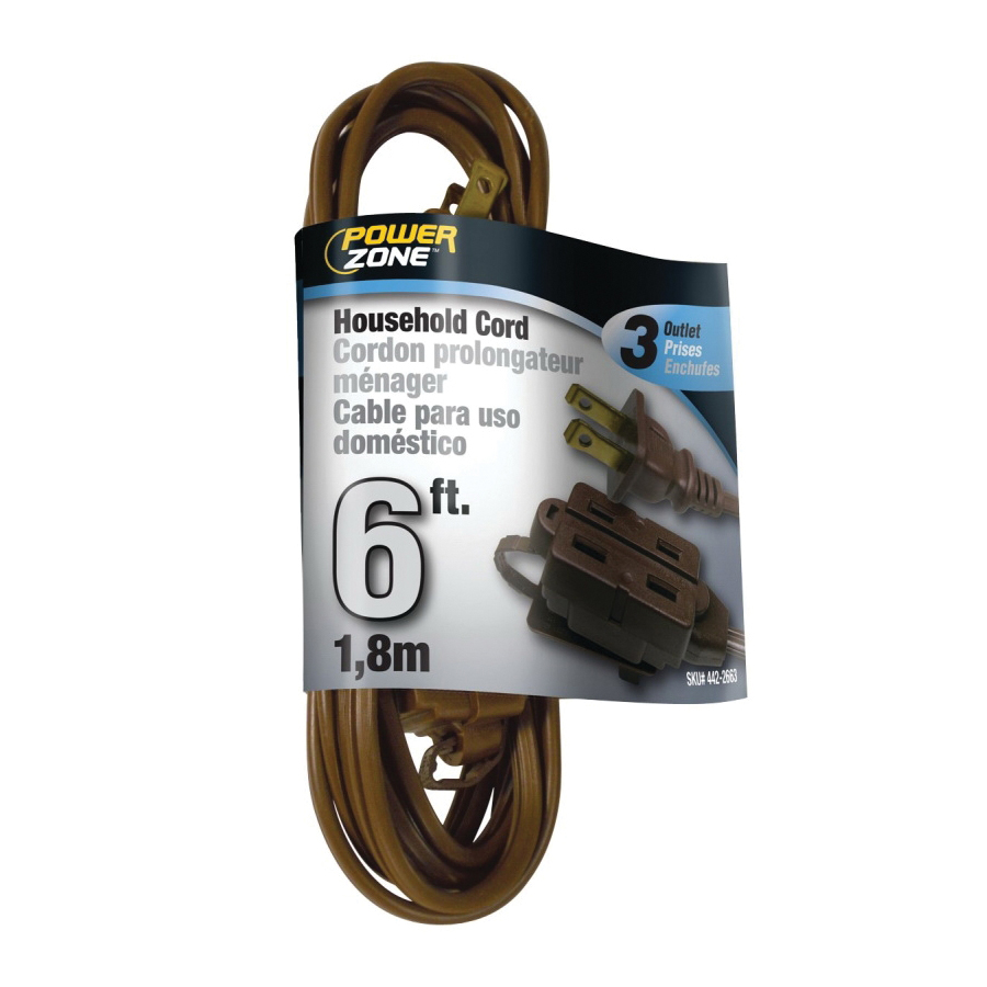 Picture of PowerZone OR670606 Extension Cord, 16 AWG Cable, 6 ft L, 13 A, 125 V, Brown Jacket