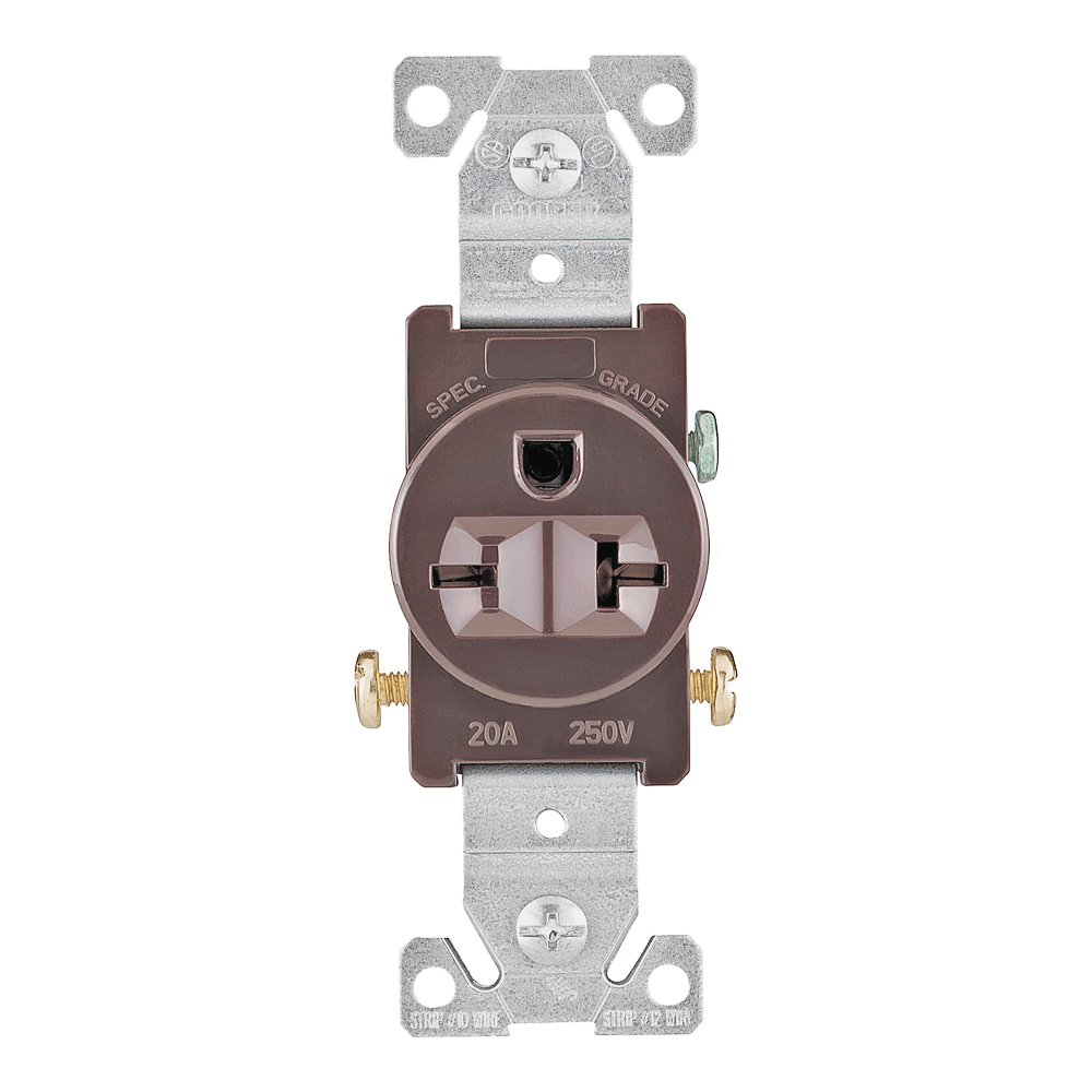 Picture of Eaton Wiring Devices 1876B-BOX Single Receptacle, 2-Pole, 250 V, 20 A, Side Wiring, NEMA 6-20R, Brown