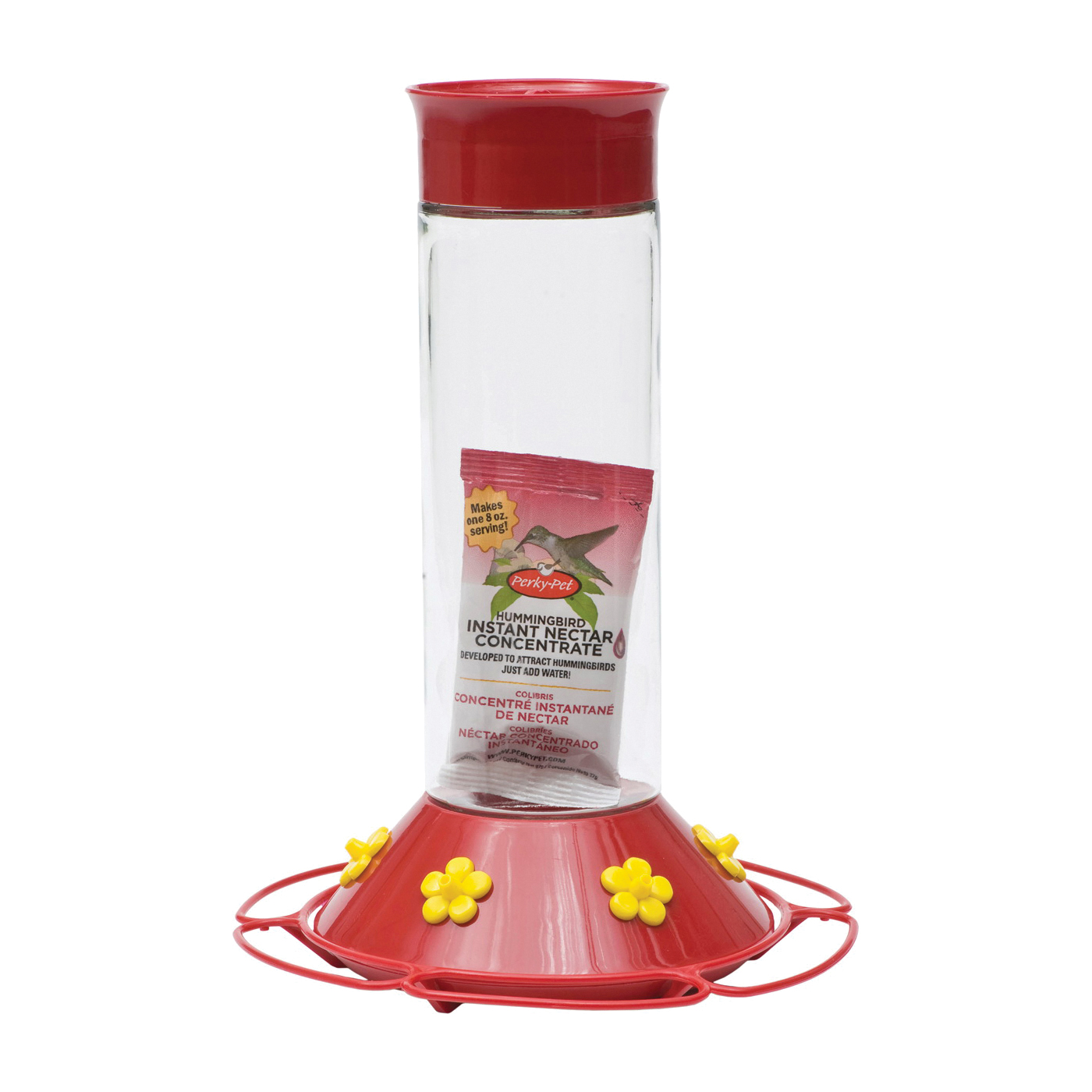 Picture of Perky-Pet 209B Hummingbird Feeder, 30 oz, 6-Port/Perch, Glass/Plastic, Bright Red/Yellow, 8.3 in H