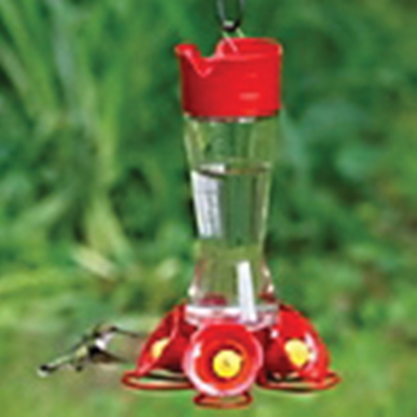 Picture of Perky-Pet 204CP-4 Hummingbird Feeder, 5-Port/Perch, Glass, Red, 10-1/2 in H