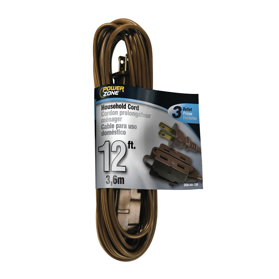 Picture of PowerZone OR670612 Extension Cord, 16 AWG Cable, 12 ft L, 13 A, 125 V, Brown Jacket