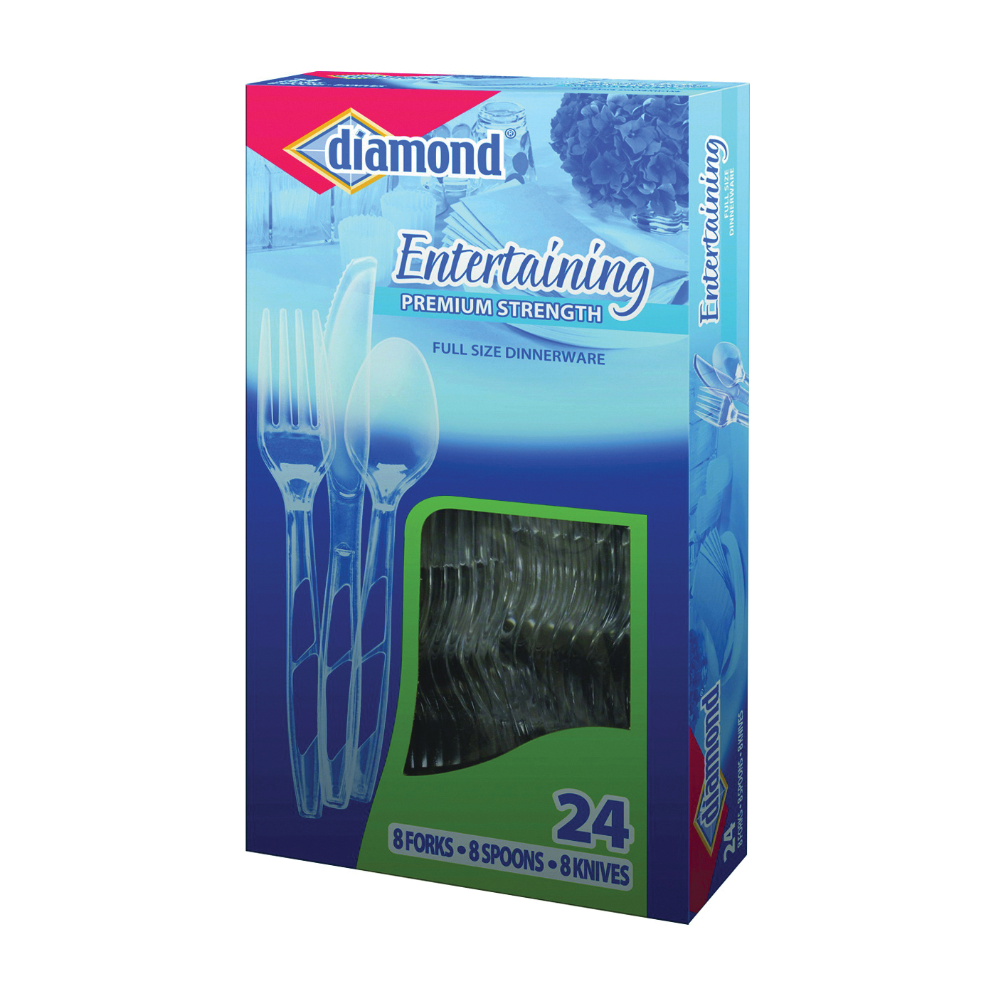 Picture of diamond 00098 Cutlery Set, Polystyrene, Clear, 24