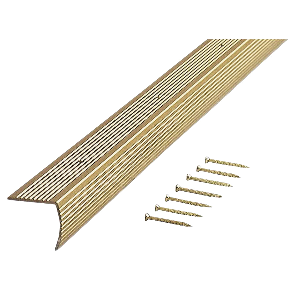 Picture of M-D 79020 Stair Edging, 36 in L, 1.28 in W, Aluminum, Satin Brass