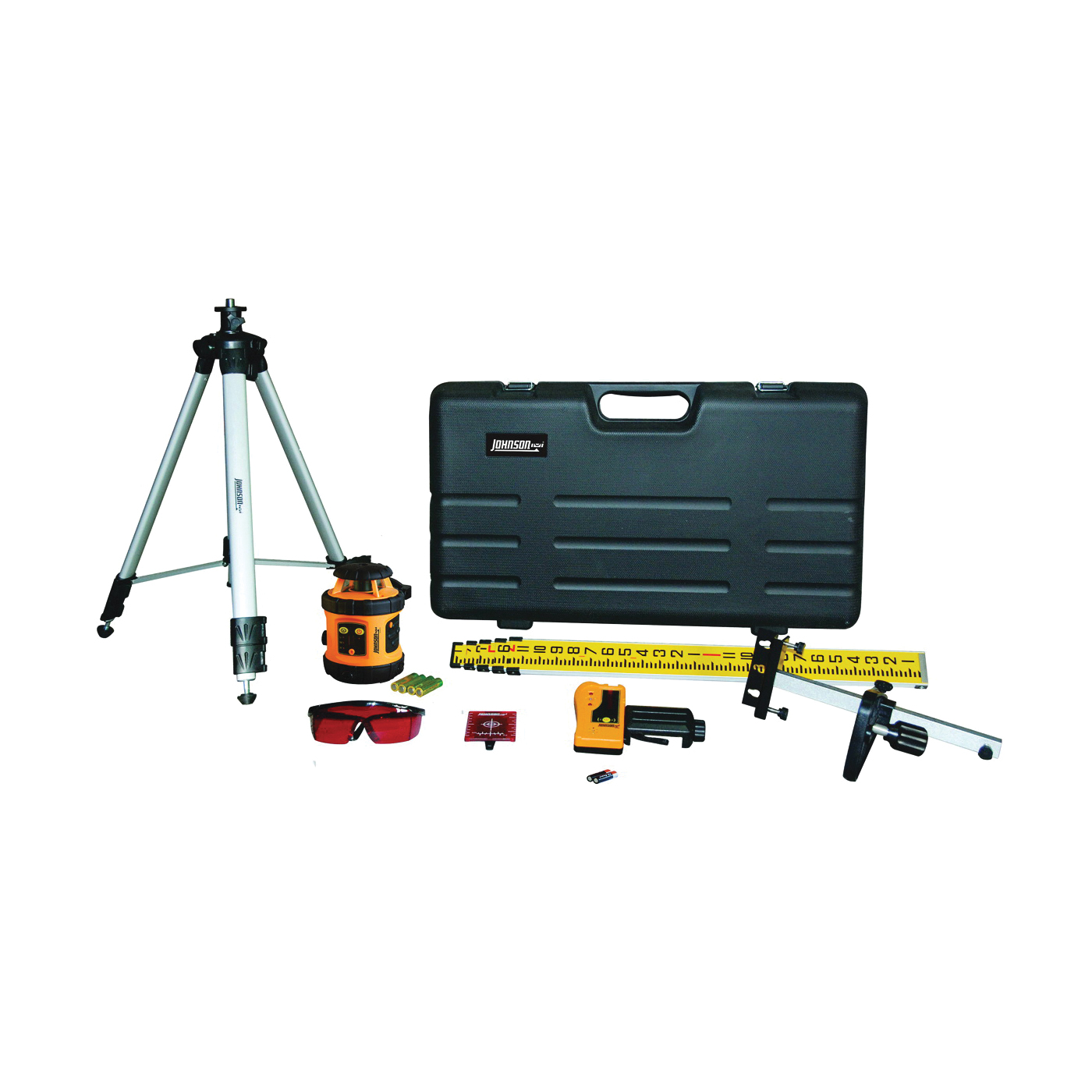Picture of Johnson 40-6517 Laser Level Kit, 200 ft, +/-1/8 in at 50 ft Accuracy, Red Laser