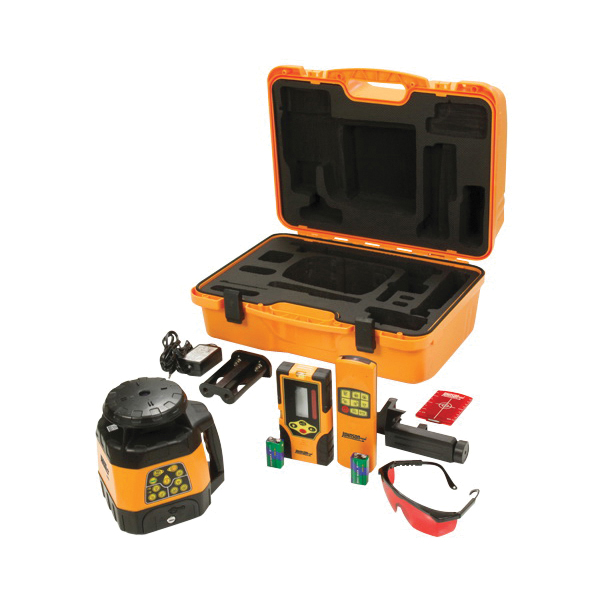 Picture of Johnson 40-6529 Laser Level Kit, 200 ft, +/-1/8 in at 100 ft Accuracy, Red Laser