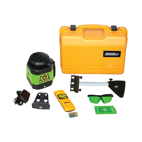 Picture of Johnson 40-6544 Laser Level Kit, 400 ft, +/-1/8 in at 100 ft Accuracy, Green Laser