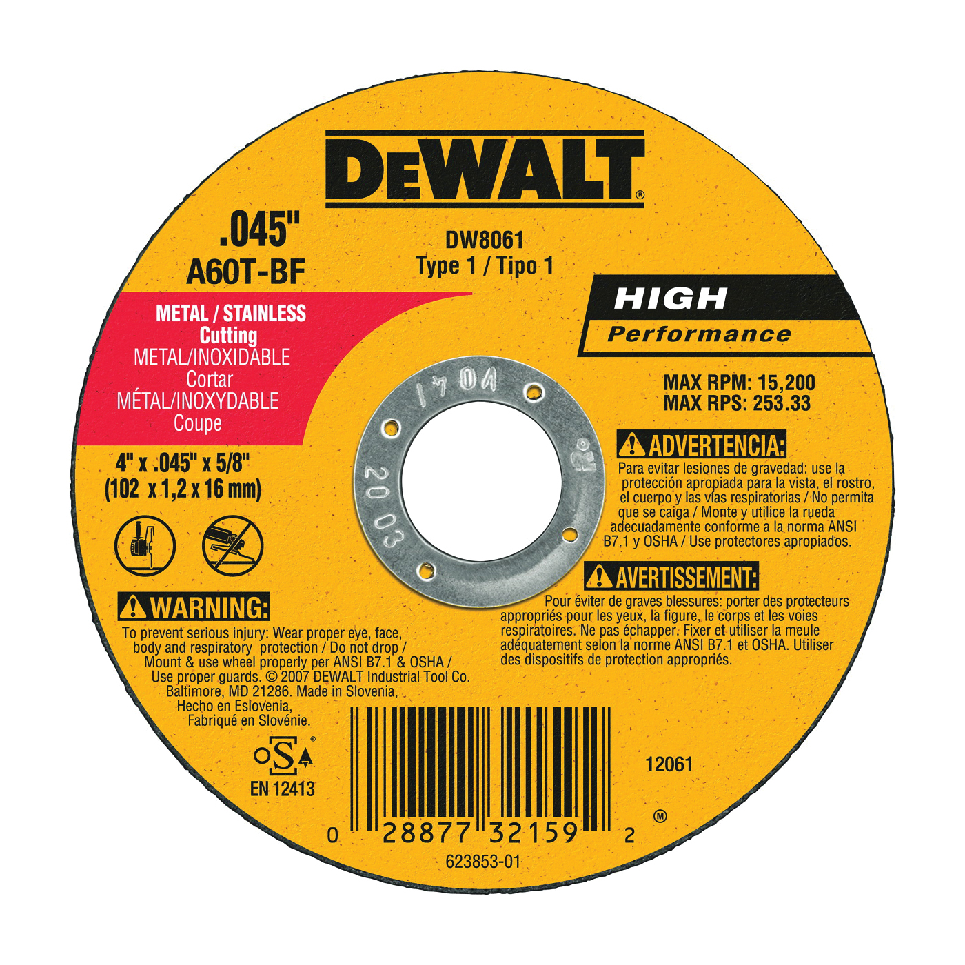 Picture of DeWALT DW8061 Cutting Wheel, 4 in Dia, 0.045 in Thick, 5/8 in Arbor, Aluminum Oxide Abrasive