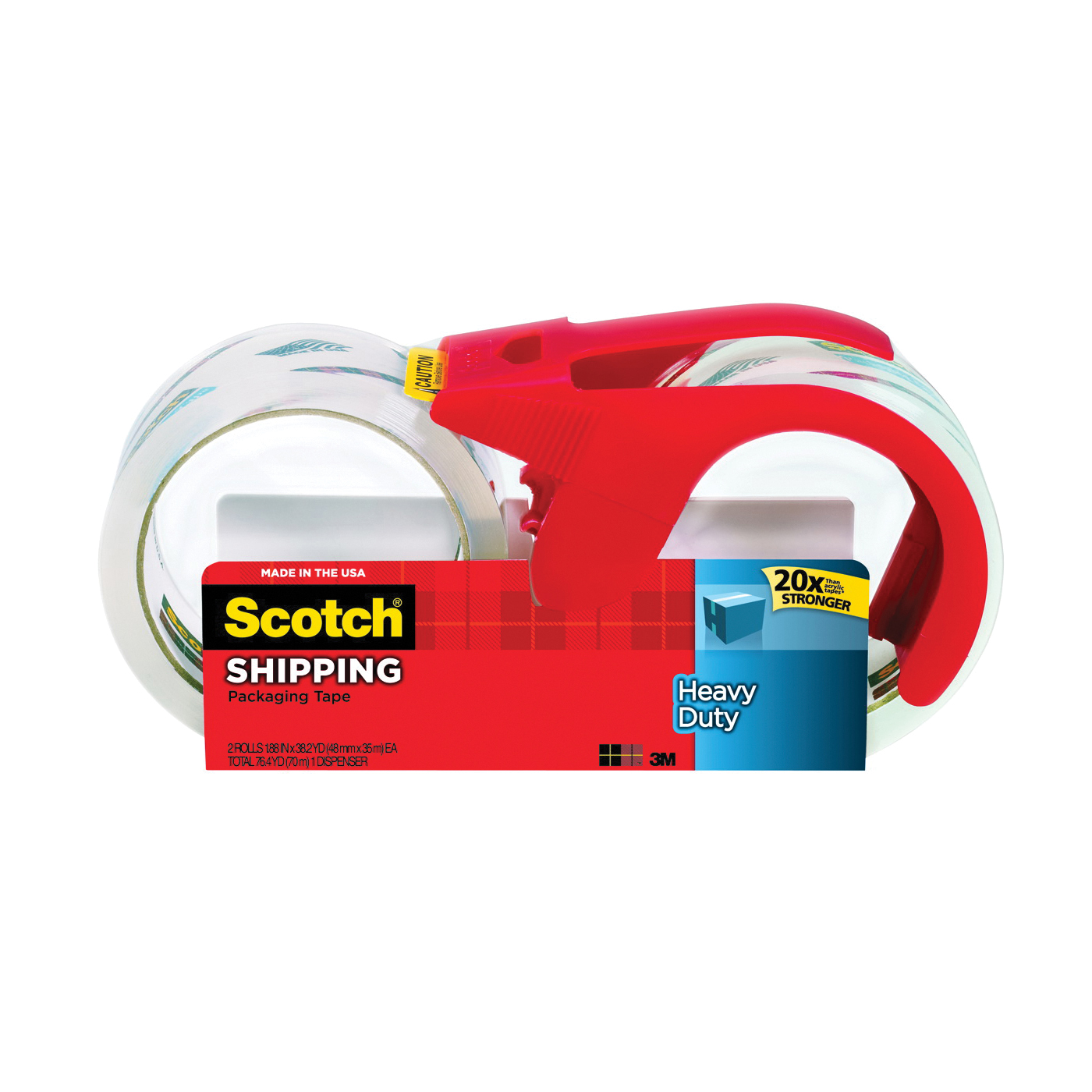Picture of Scotch 3850S-2-1RD Packaging Tape, 38.2 yd L, 1.88 in W, Polypropylene Backing, Clear