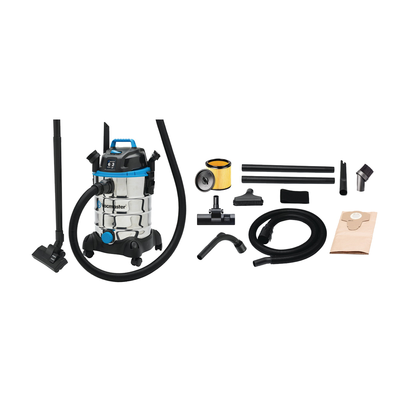 Picture of Vacmaster Professional VQ607SFD Wet/Dry Vacuum Cleaner, 6 gal Vacuum, Cartridge Filter