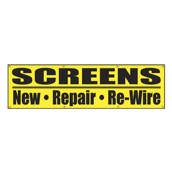Picture of Make-2-Fit P 8080 Screen Repair Banner, Vinyl, Black/Yellow, 1, Pack