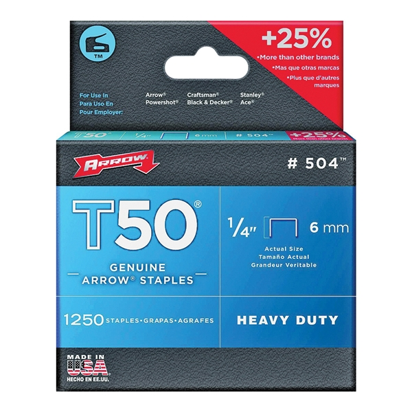 Picture of Arrow T50 Series 50424 Flat Crown Staple, 3/8 in W Crown, 1/4 in L Leg