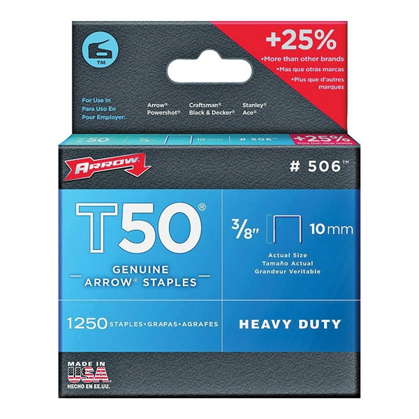 Picture of Arrow T50 Series 50624 Flat Crown Staple, 3/8 in W Crown, 3/8 in L Leg