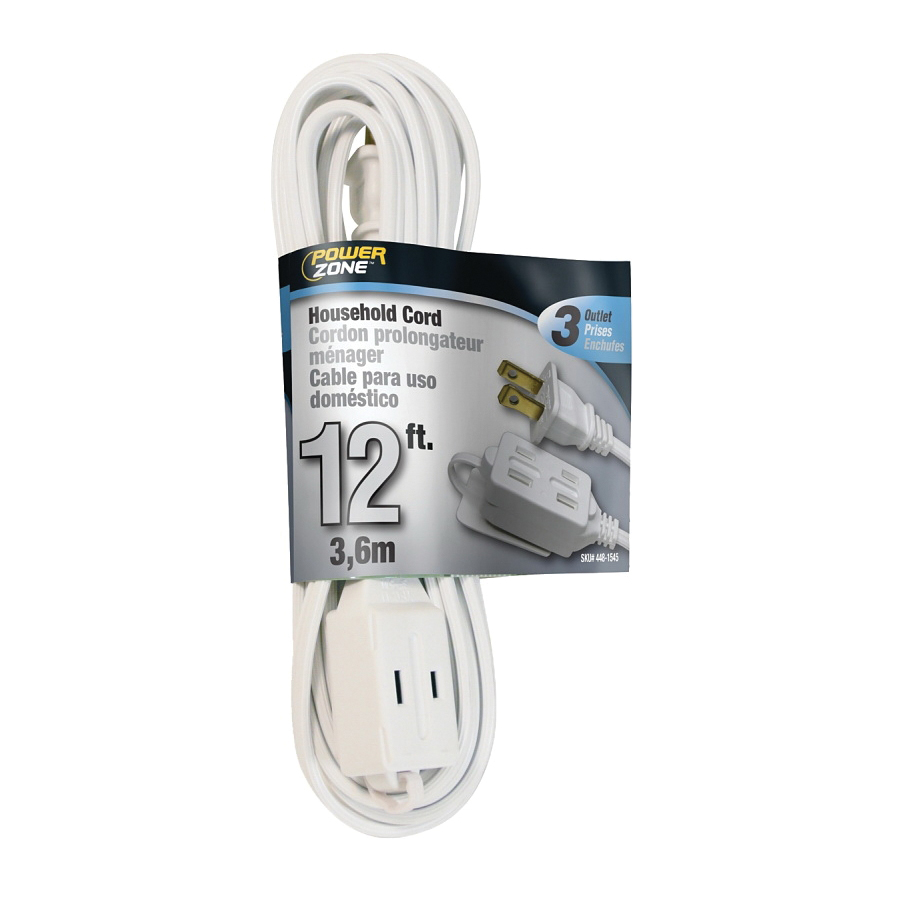 Picture of PowerZone OR660612 Extension Cord, 16 AWG Cable, 12 ft L, 13 A, 125 V, White Jacket