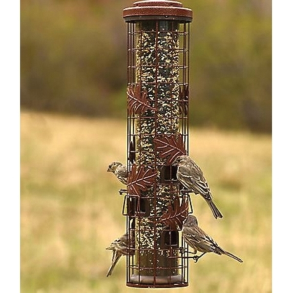 Picture of Perky-Pet Squirrel-Be-Gone SBG100 Cylinder Wild Bird Feeder, 26 in H, 1-3/4 lb, Metal, Red, Powder-Coated