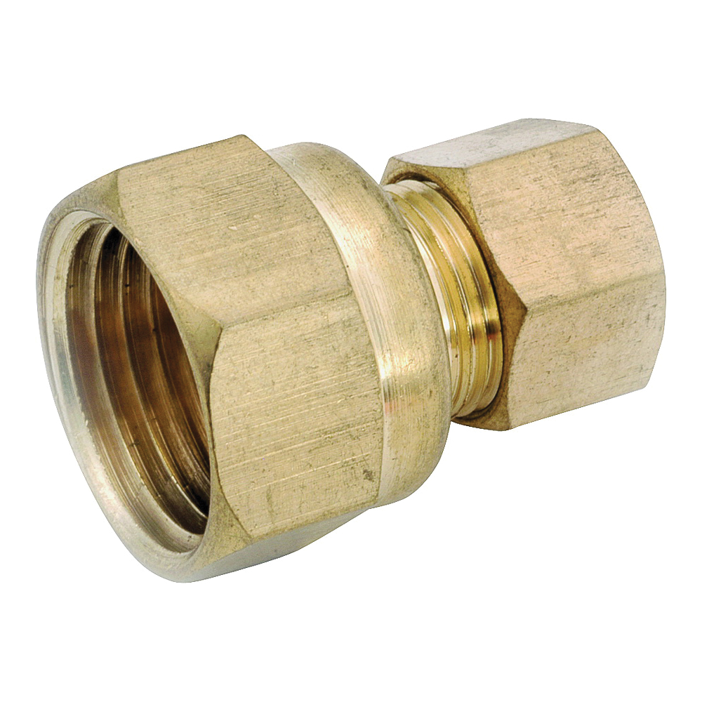 Picture of Anderson Metals 750066-0806 Tubing Coupling, 1/2 x 3/8 in, Compression x FIP, Brass