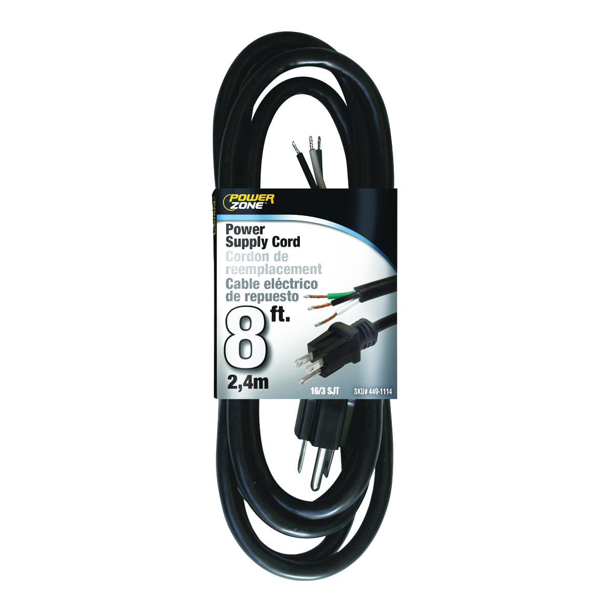 Picture of PowerZone OR010608 Power Cord, 5-15P, 8 ft L, 13 A, 125 V, Black Jacket