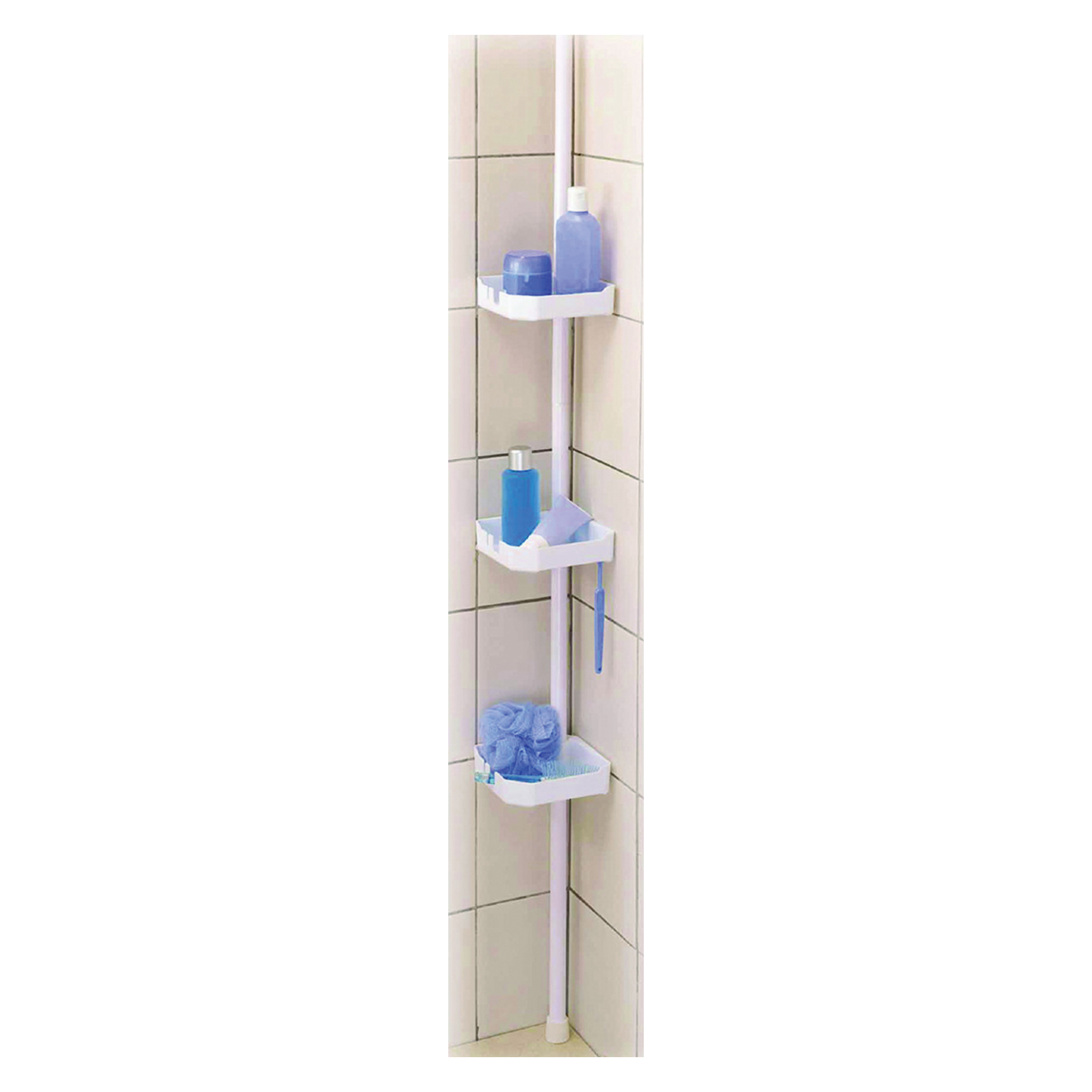 Picture of Simple Spaces TS38-PDC Shower Caddy, 3-Shelf, 7-5/8 in OAW, 97 in OAH, 6-1/2 in OAD