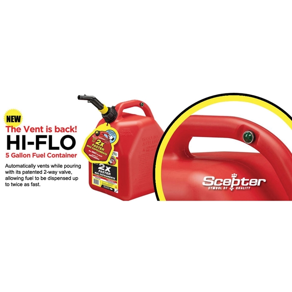 Picture of Scepter Flo n' go FG4G111 Gas Can, 1 gal Capacity, Polypropylene, Red