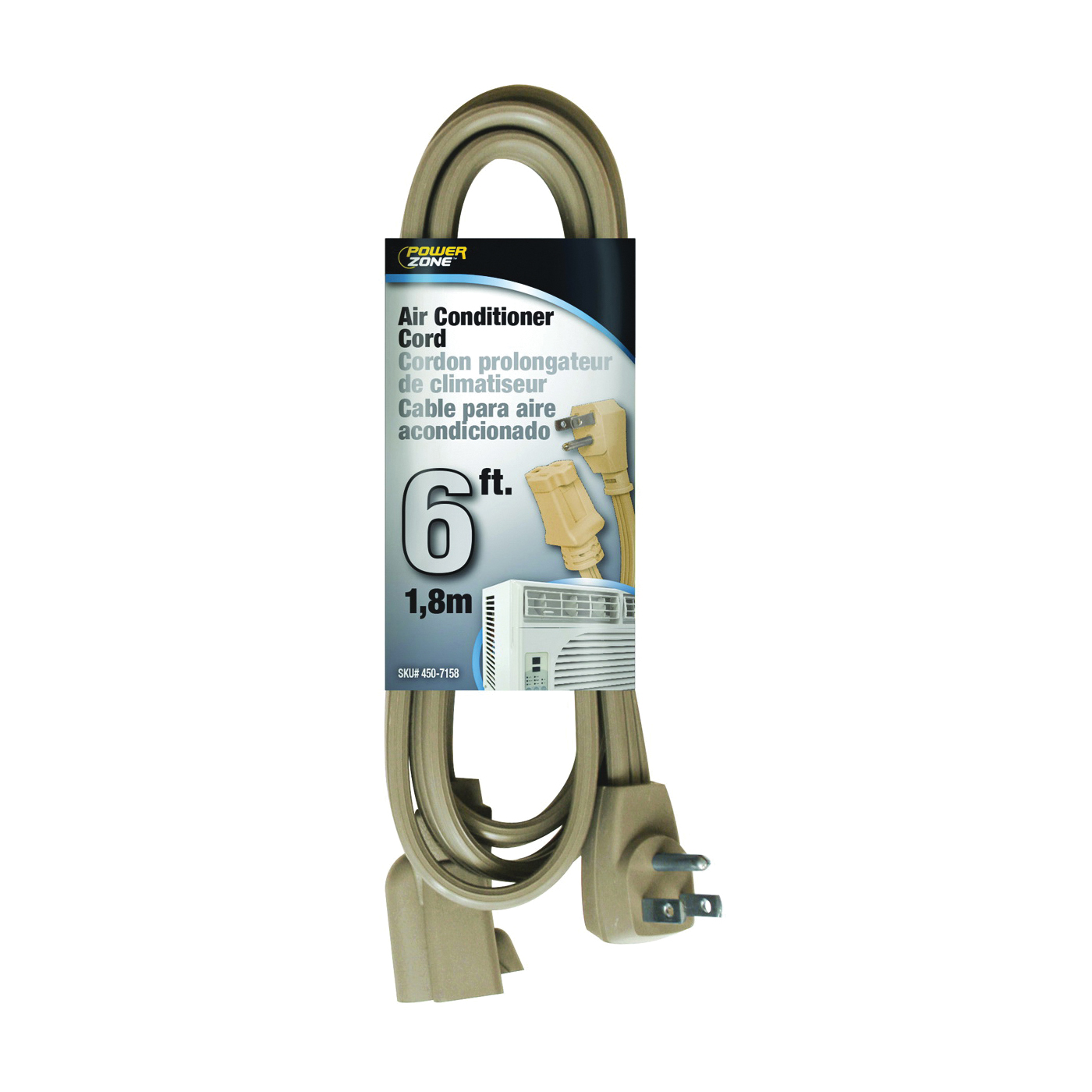 Picture of PowerZone OR681506 SPT3 Extension Cord, SPT-3, Vinyl, Beige, For: Air conditioner and Appliances, 1, Sleeve