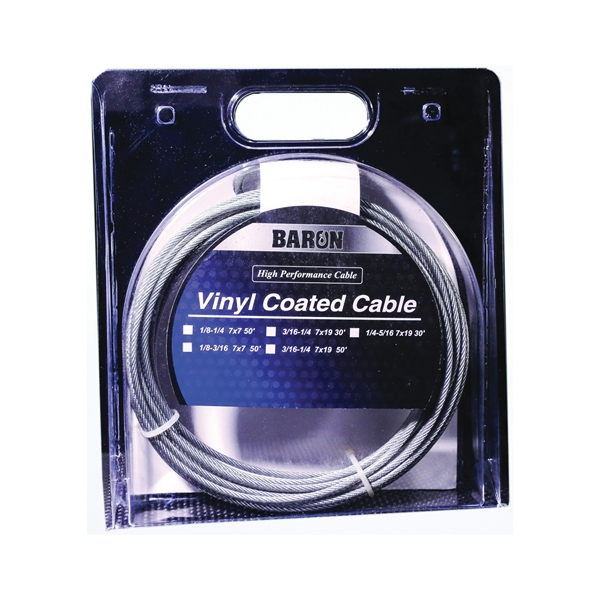 Picture of BARON 53205/50235 Aircraft Cable, 3/16 to 1/4 in Dia, 100 ft L, 740 lb Working Load, Galvanized Steel