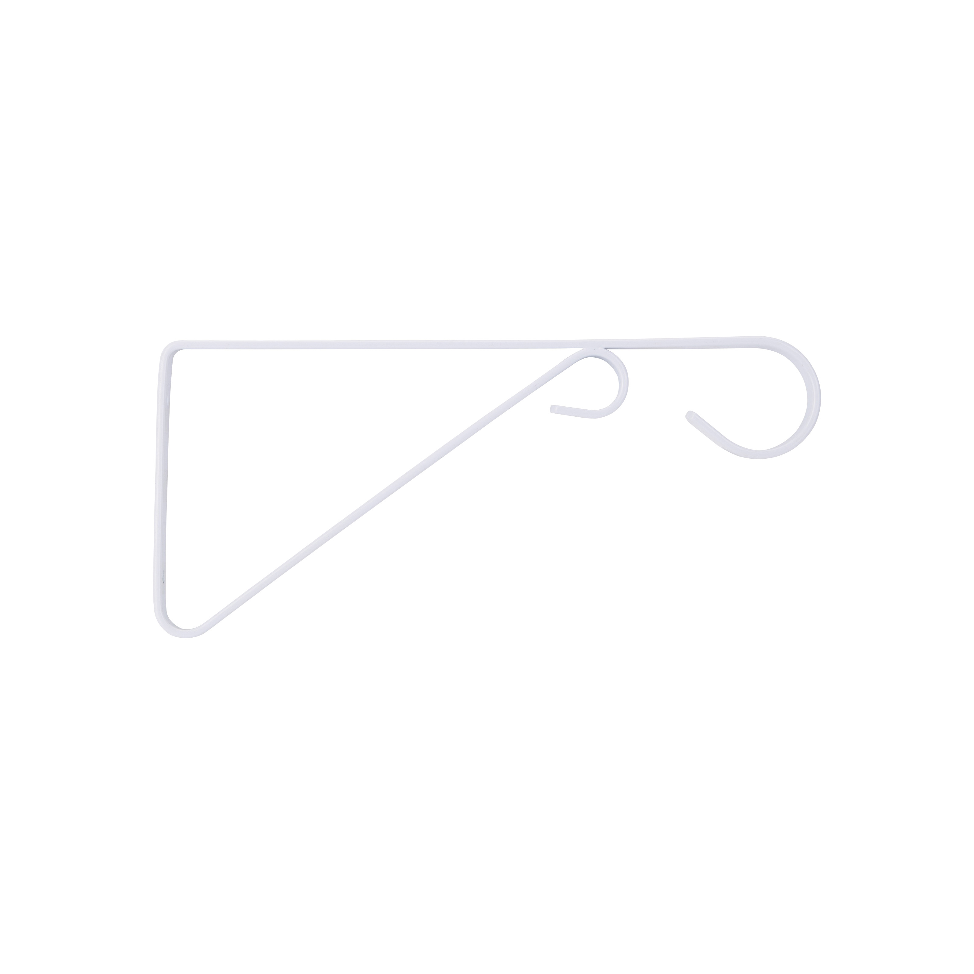 Picture of Landscapers Select GB0373L Hanging Plant Bracket, 9-5/8 L, Steel, White, White, Wall Mount Mounting