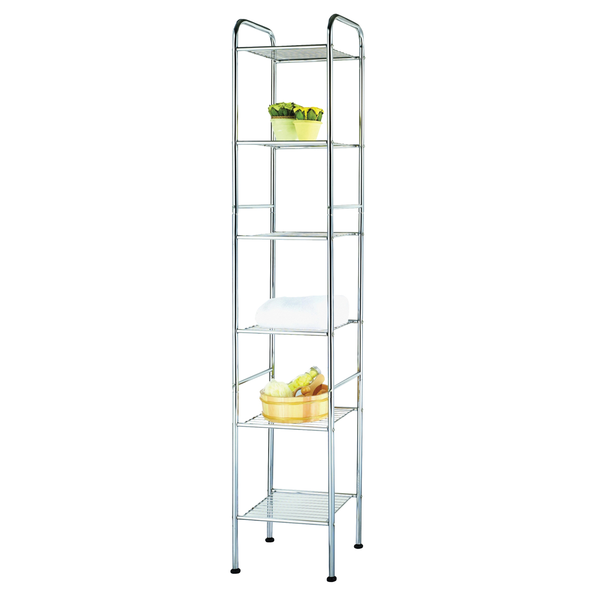 Picture of Simple Spaces BC45C-CH Bath Shelf, Each shelf 11 lb Max Weight Capacity, 6-Shelf, Steel, Polished Chrome