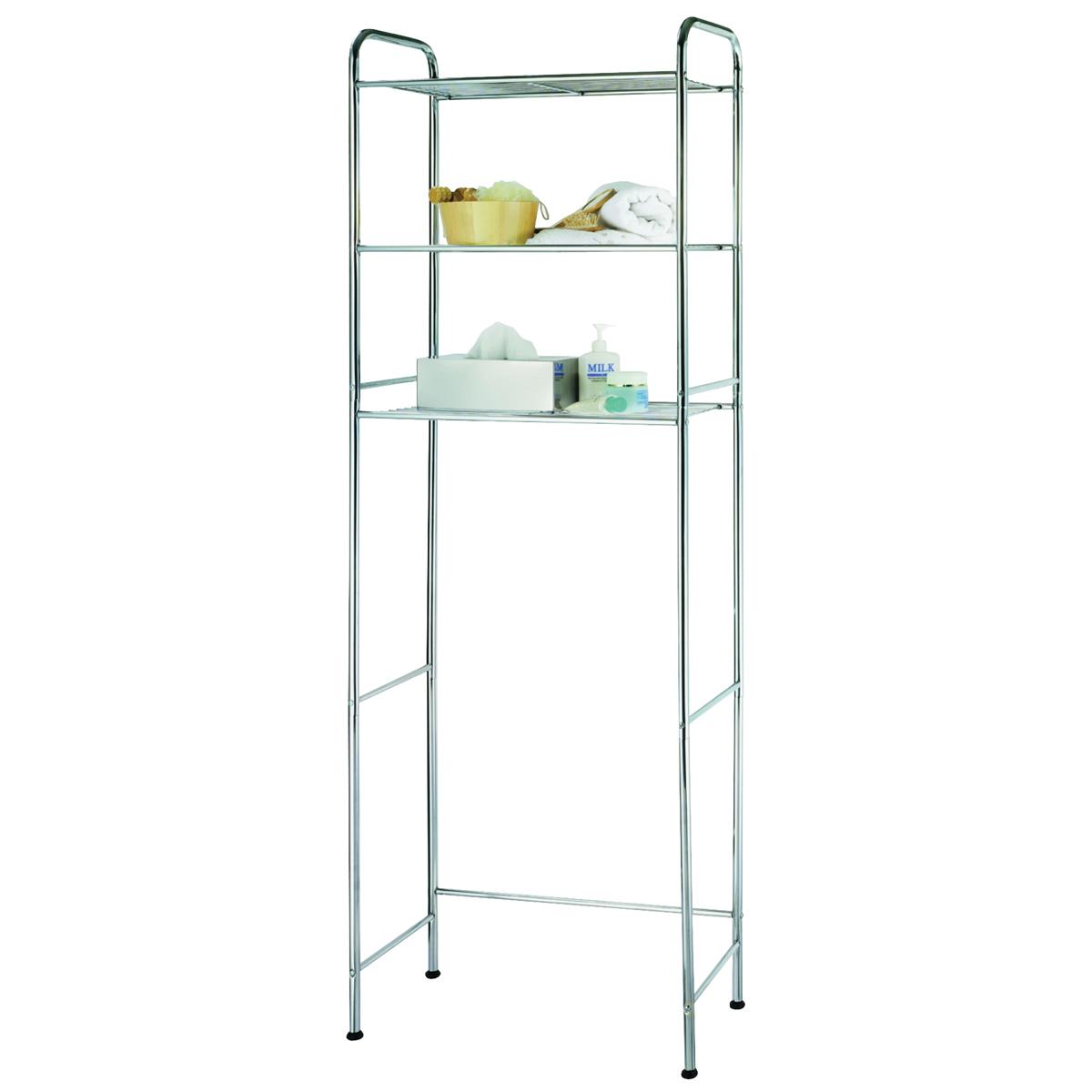 Picture of Simple Spaces TS16C0-CH Bath Shelf, Each shelf 15 lb Max Weight Capacity, 3-Shelf, Steel, Polished Chrome