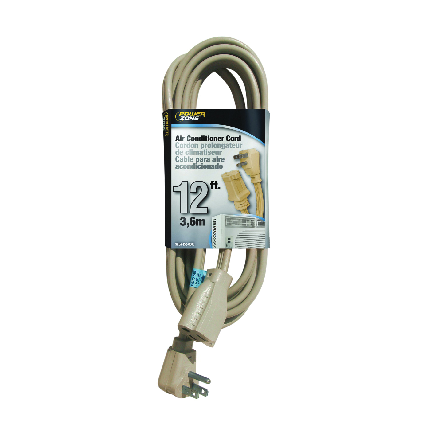 Picture of PowerZone OR681512 SPT3 Extension Cord, SPT-3, Vinyl, Beige, For: Air conditioner and Appliances, 1, Sleeve