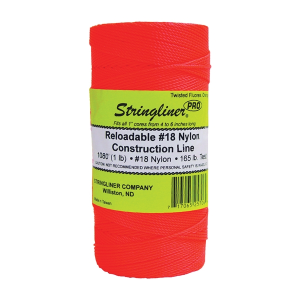 Picture of Stringliner Pro Series 35706 Construction Line, #18 Dia, 1080 ft L, 165 lb Working Load, Nylon, Fluorescent Orange