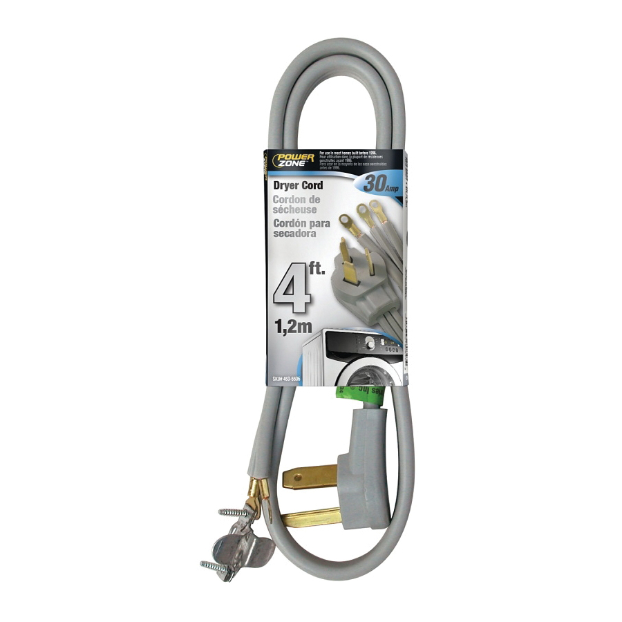 Picture of PowerZone ORD100304 Power Supply Dryer Cord, 10 AWG Cable, 4 ft L, 30 A, 250 V, Gray Jacket