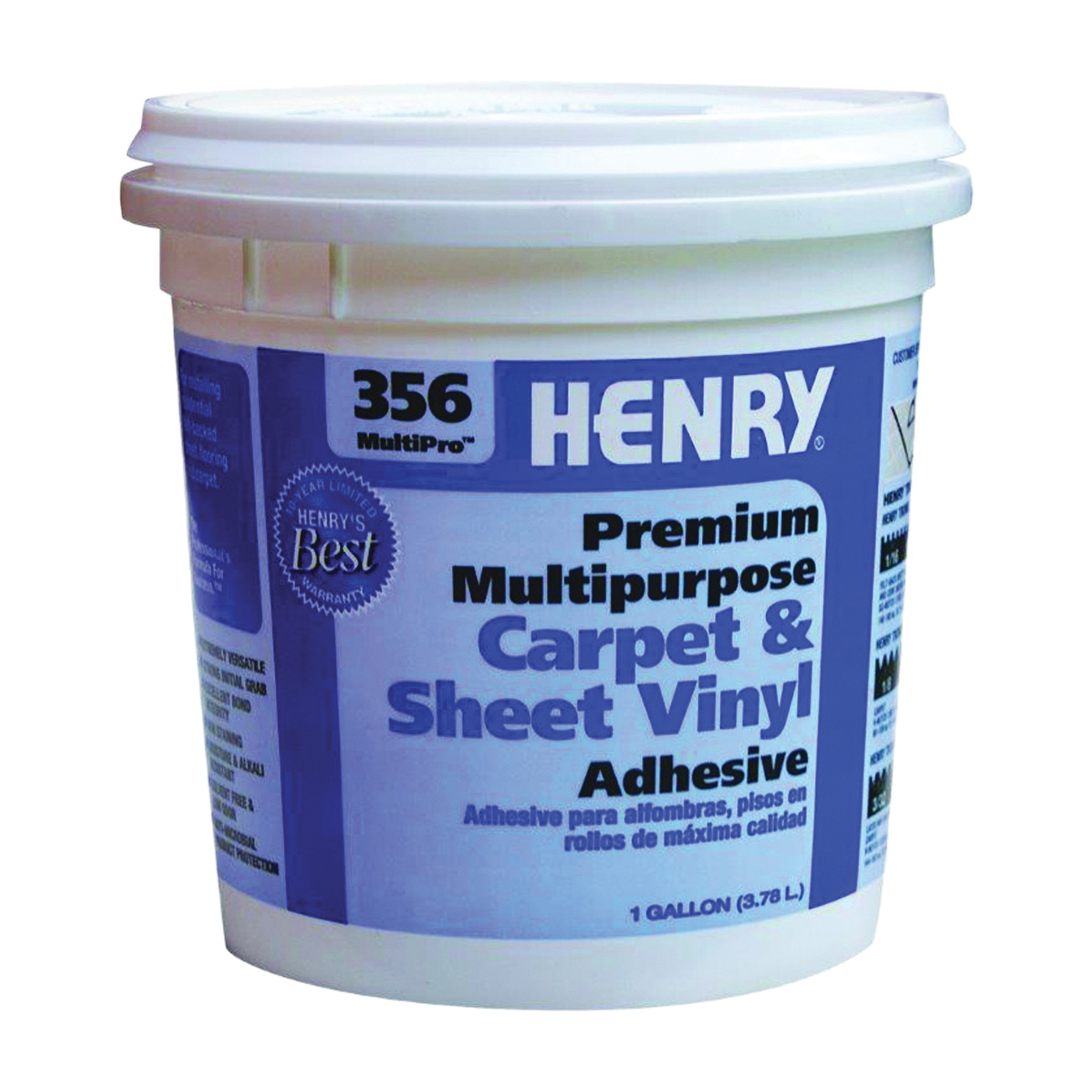Picture of HENRY 356C MultiPro 12073 Carpet and Sheet Adhesive, Paste, Mild, Pale Yellow, 1 gal Package, Pail