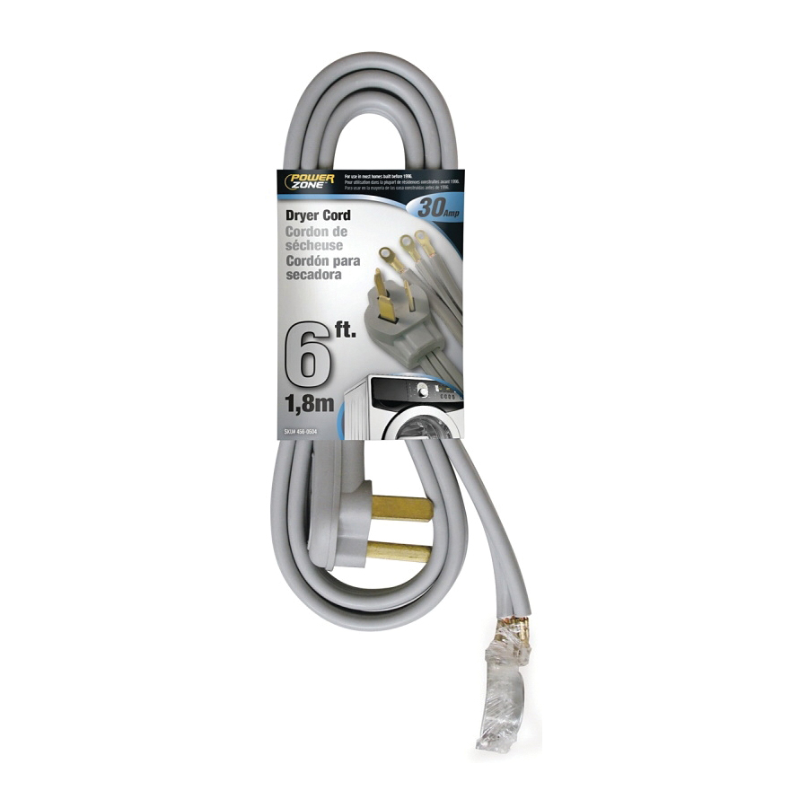 Picture of PowerZone ORD100306 Power Supply Dryer Cord, 10 AWG Cable, 6 ft L, 30 A, 250 V, Gray Jacket