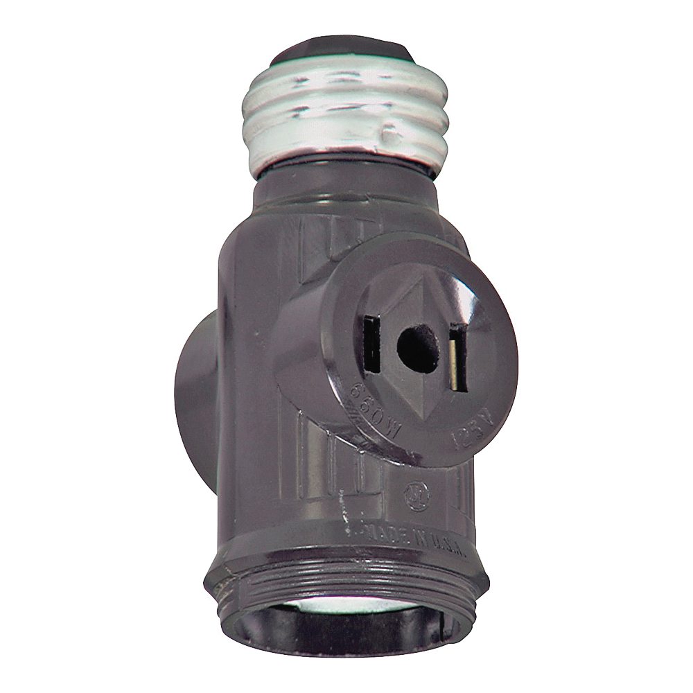 Picture of Eaton Wiring Devices BP715B Socket Adapter with Keyless Switch, 660 W, 2-Outlet, Brown