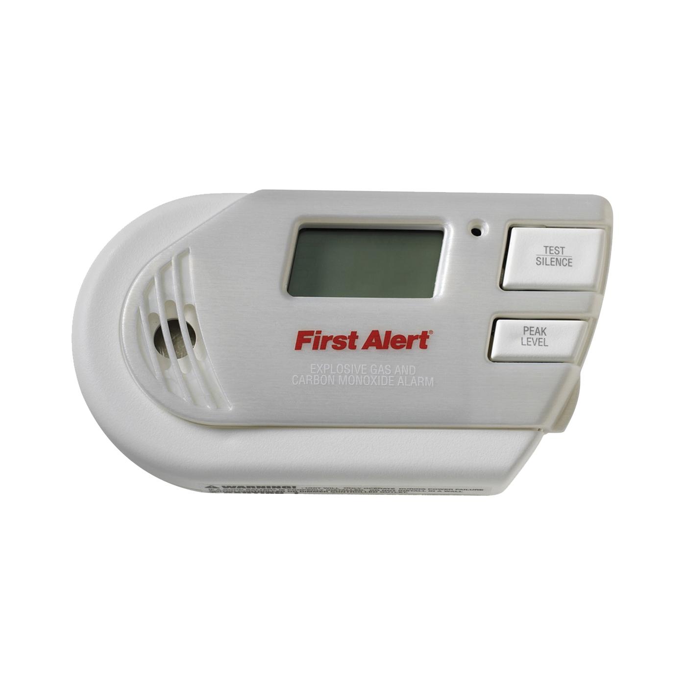 Picture of FIRST ALERT GCO1CN Carbon Monoxide Alarm, 10 ft, Digital Display, 85 dB, Alarm: Audible, Electrochemical Sensor