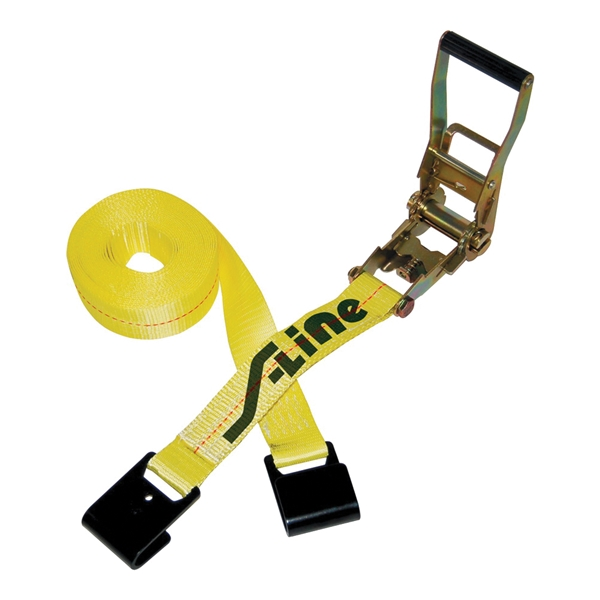 Picture of S-Line 500 Series 557 Ratchet Strap, 2 in W, 27 ft L, Polyester, 3333 lb Working Load, Hook End